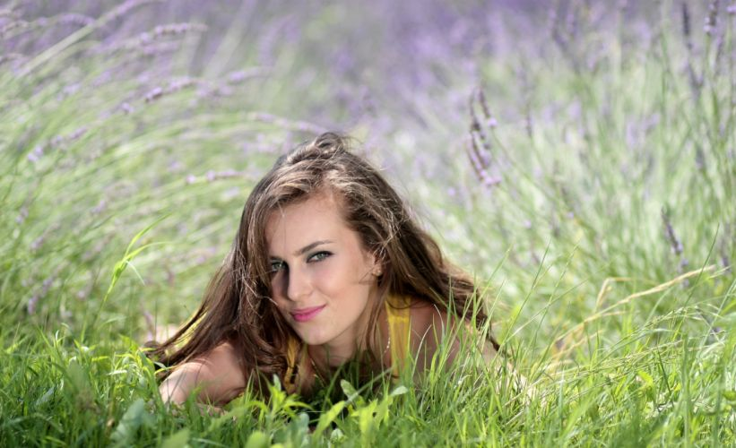 Girl Lavender Flowers Mov Beauty Nature g wallpaper