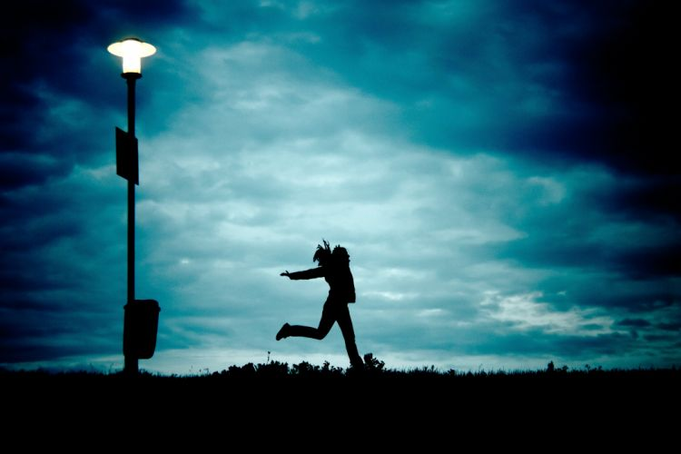 Girl At Night Running Cloud Silhouette Freedom wallpaper