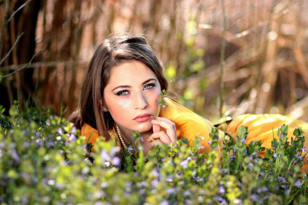 Girl Blue Eyes Seductive Flowers Blonde Beauty wallpaper