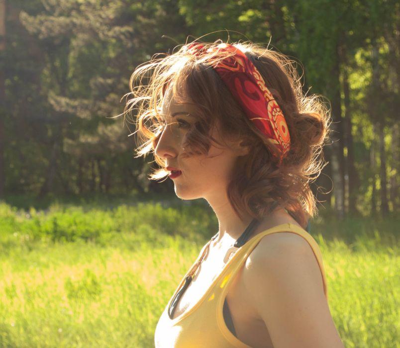 Girl Summer Sun Stroll Sunset Hair Redhead wallpaper
