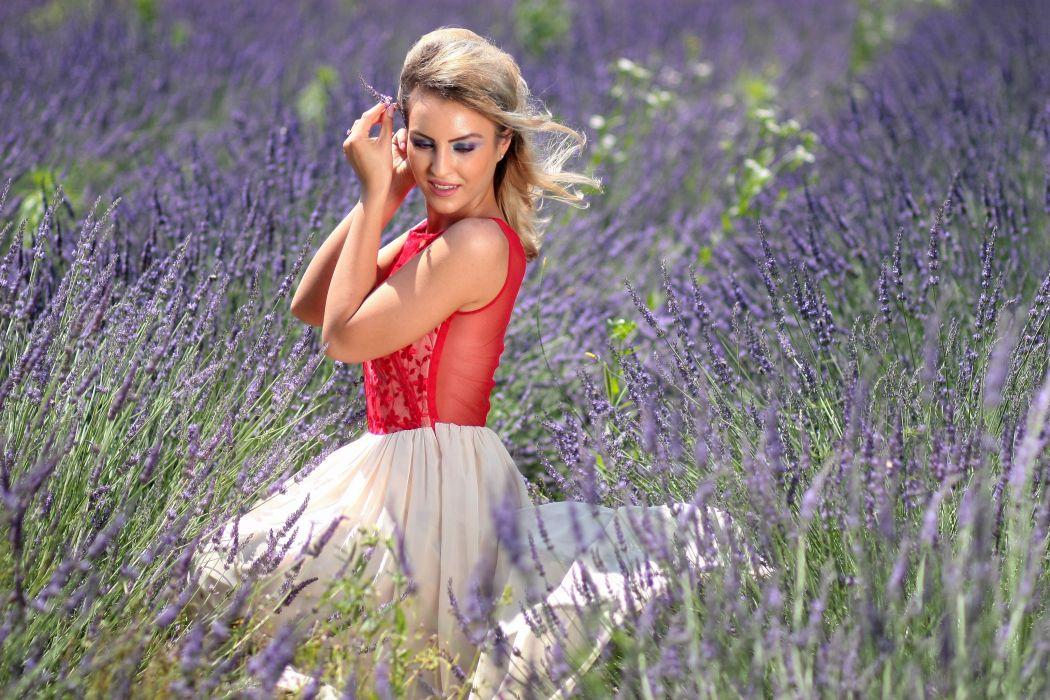 Girl Lavender Mov Blonde Dress Beauty Flowers wallpaper