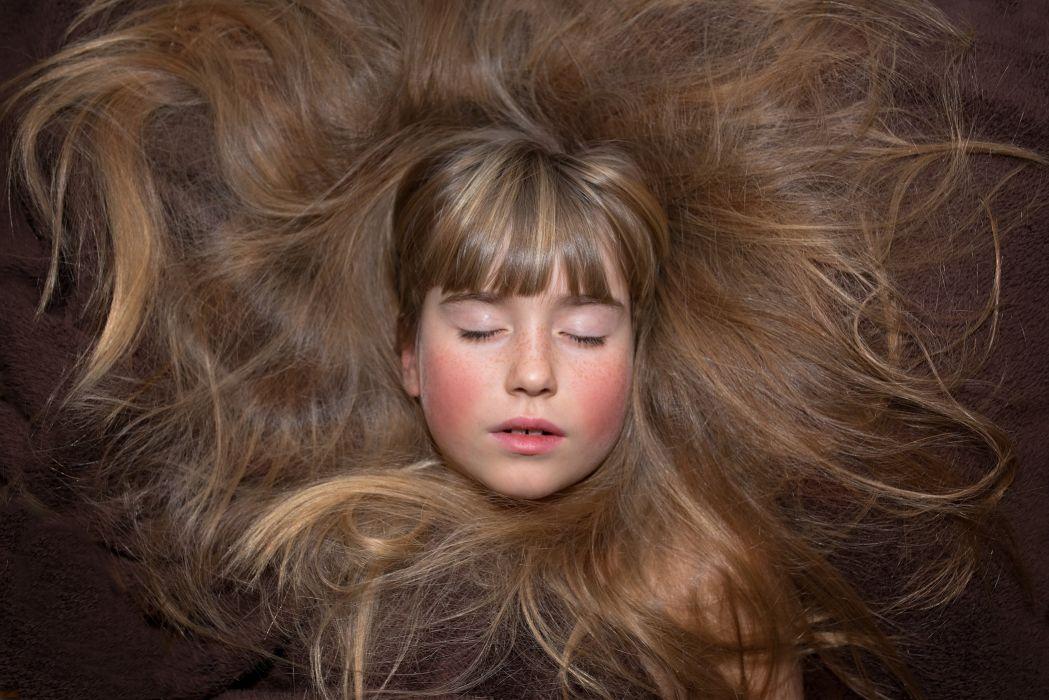 Person Human Female Girl Face Hair Eyes Closed wallpaper