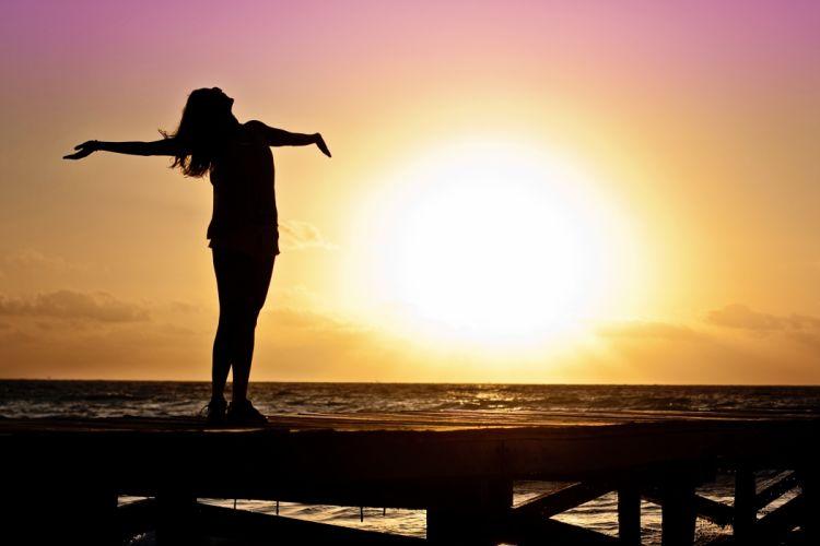 Woman Girl Freedom Happy Sun Silhouette Sunrise wallpaper
