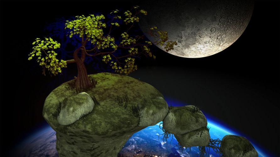 Meteorite Satellite Space Fairy Tales Travel wallpaper
