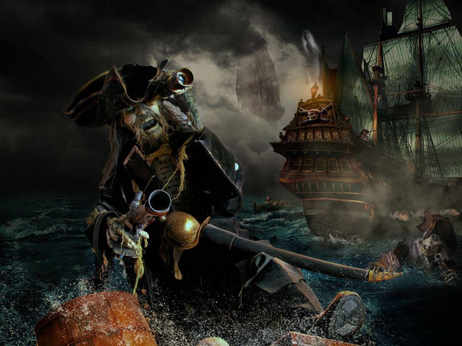 Pirate Photoshop Manipulation Fantasy wallpaper