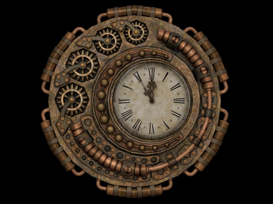 Clock Time Time Of Fantasy Steampunk Isolated wallpaper