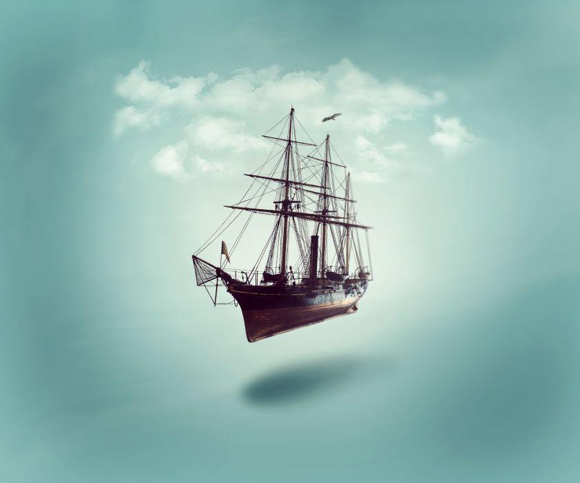Photoshop Manipulation Fantasy Ship Cloud wallpaper