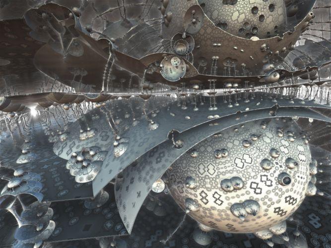 Fractal 3d Design Fantasy Futuristic Spheres wallpaper