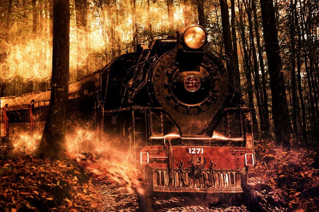 Locomotive Composition Photoshop Fire Brute train wallpaper