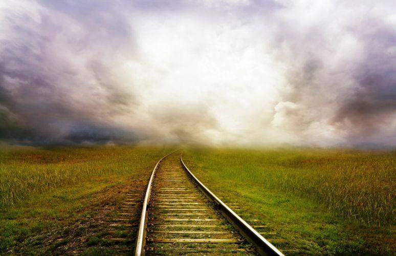 Road Train Landscape Storm Clouds Fantasy wallpaper