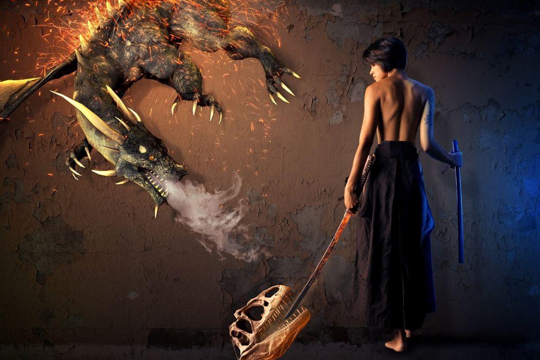 Dragon Fantasy Photoshop Mythical Girl wallpaper