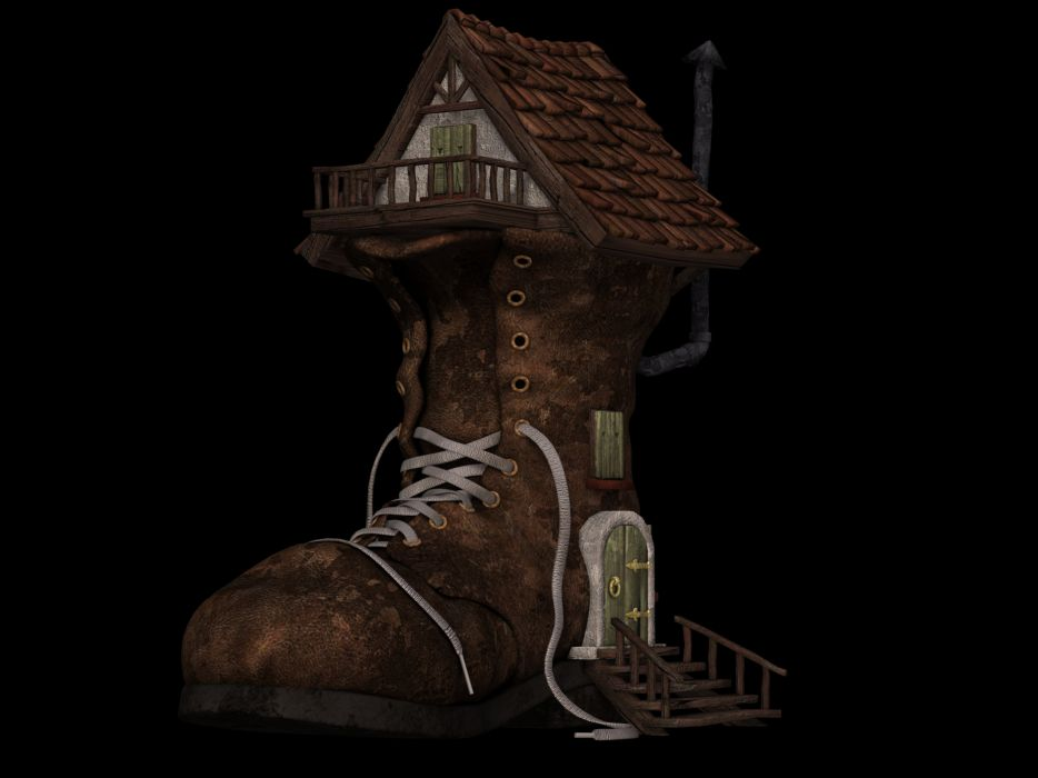 Shoe Boots Home Boots House Fantasy Fairy Tales wallpaper