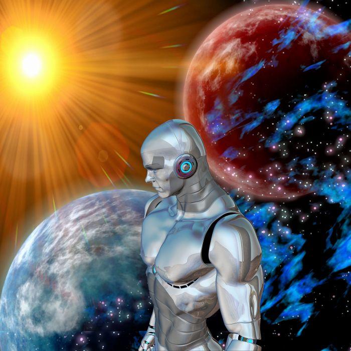 Robot Sun Space Distant Science Fiction Utopia wallpaper
