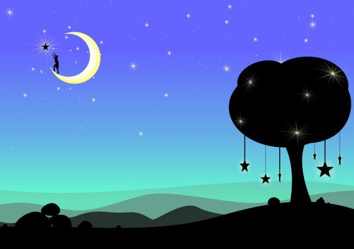 Moon Dream Fantasy Surreal Night Dark Blue wallpaper