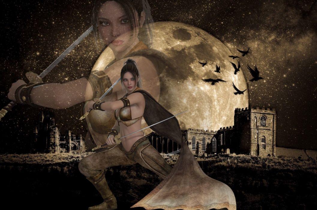 Moon Warrior Birds Castle Sky Star Swords Girl wallpaper