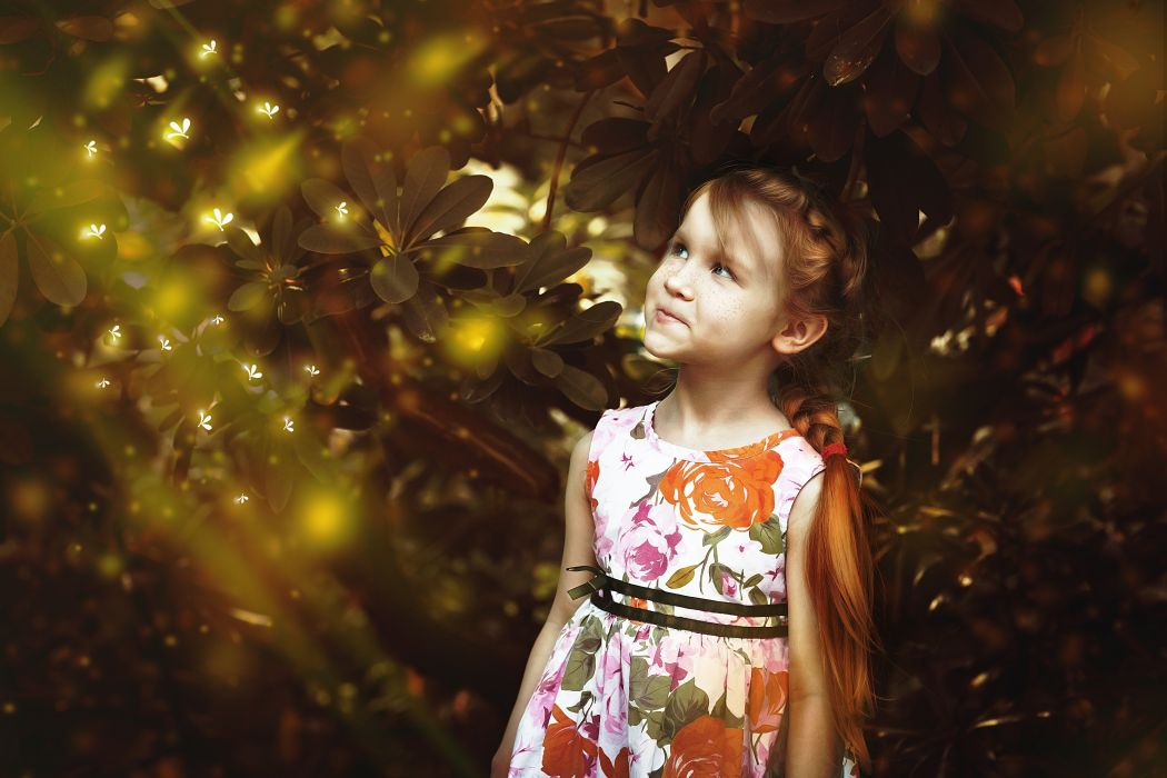 Girl Firefly Fairy Tales Red Freckles Fantasy Art wallpaper