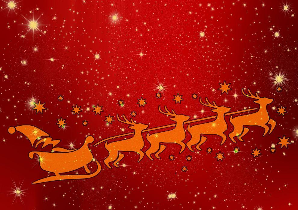 Santa Reindeer Christmas Claus Winter Holiday wallpaper