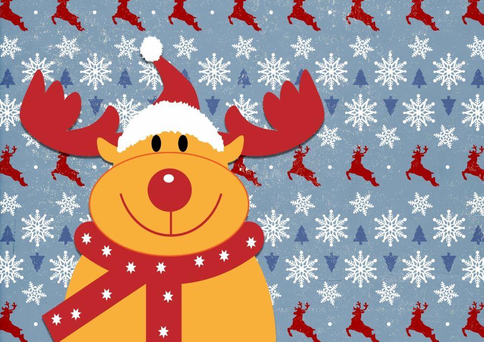 Rudolph Reindeer Christmas Happy Cute Deer wallpaper