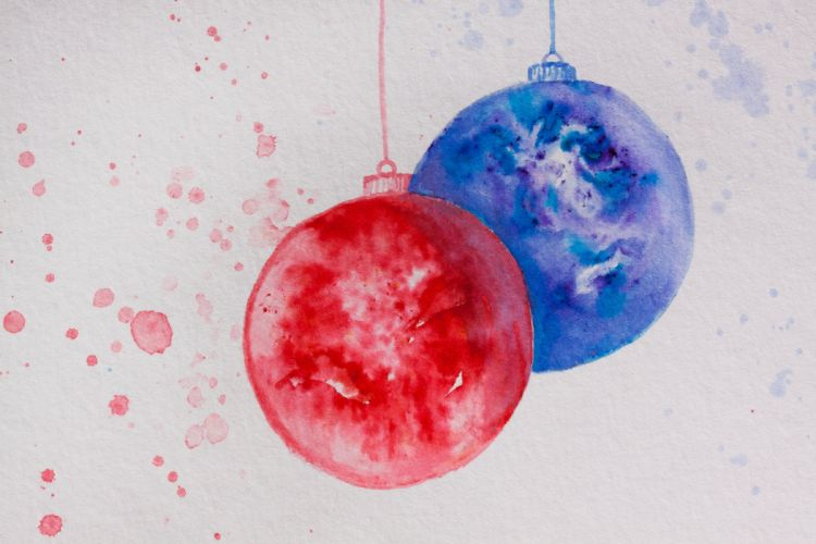 Christmas Map Ball Christmas Ornament Red Blue wallpaper