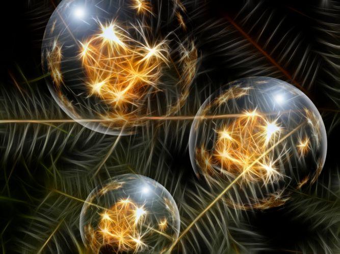 Christmas Ornament Glaskugeln Pine Needles Fir wallpaper