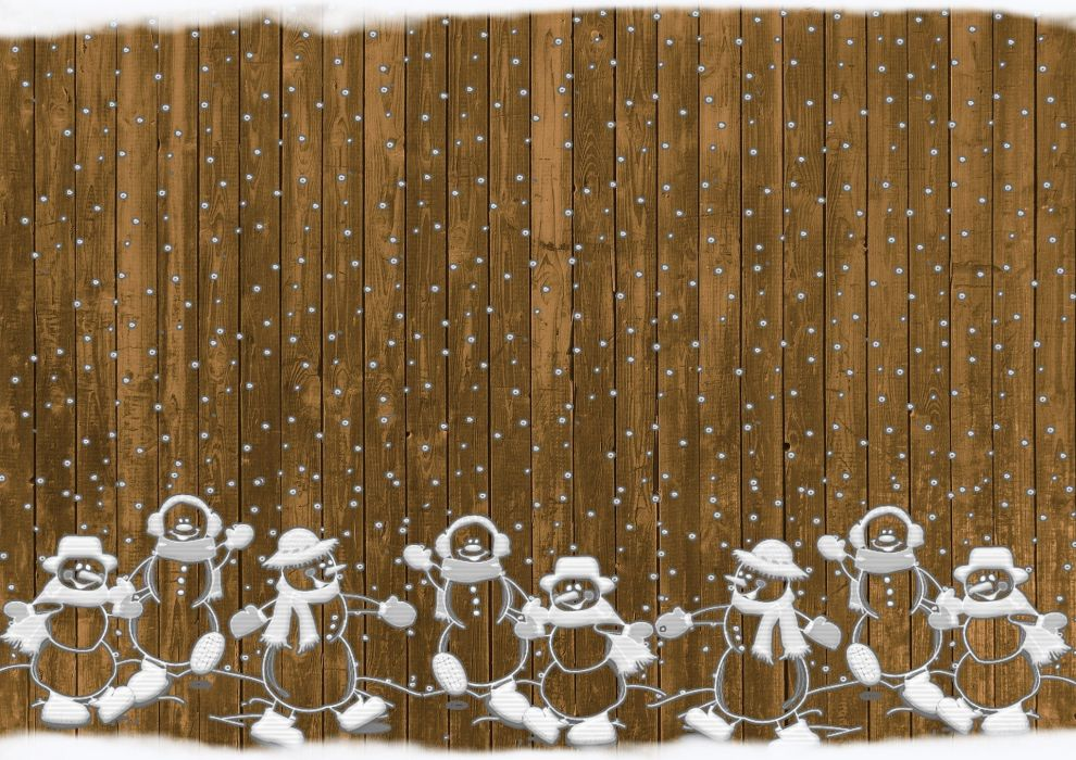 Christmas Snowmen Rustic Snow Background wallpaper