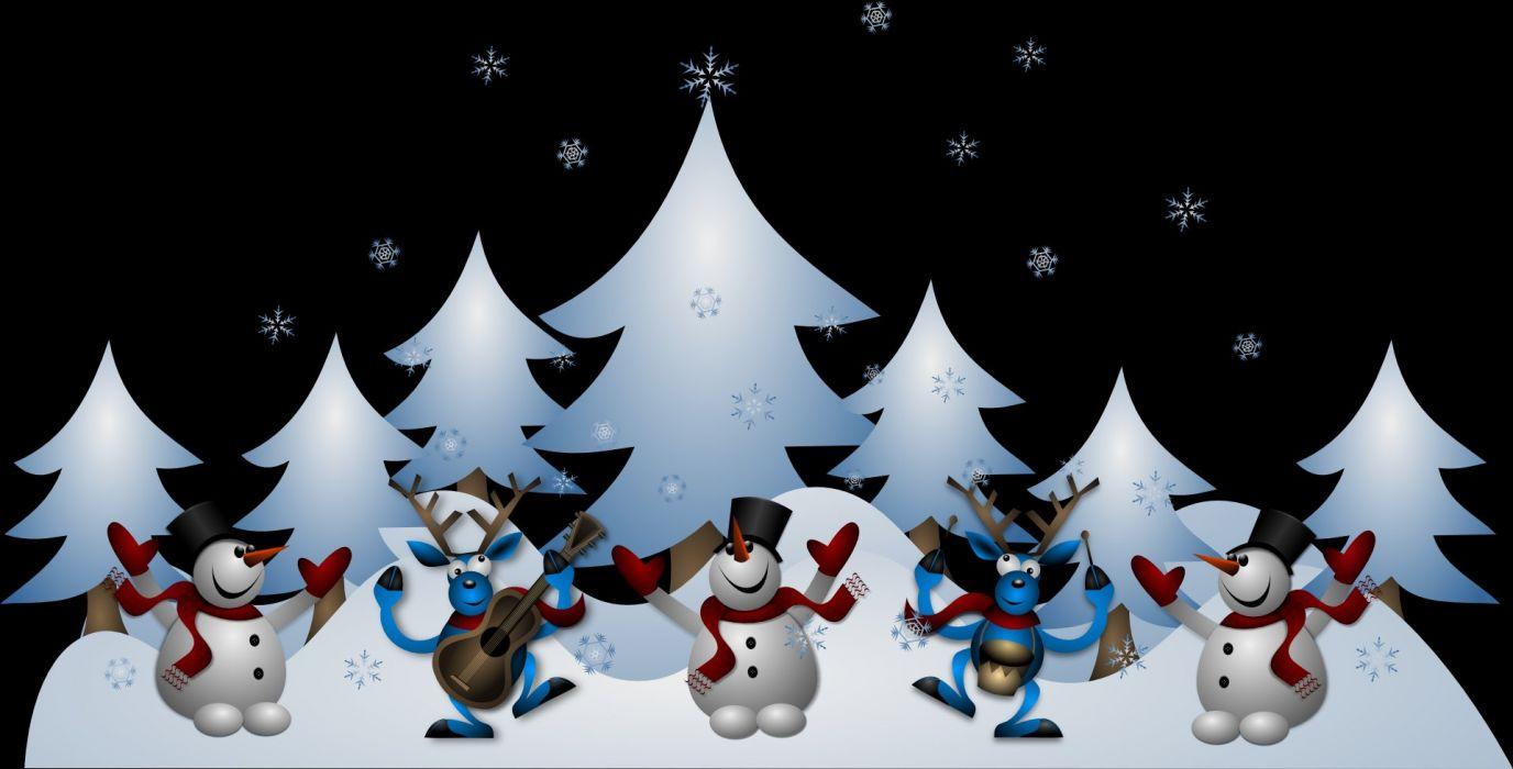 Snowmen Reindeer Christmas Noel X-Mas Xmas Card wallpaper