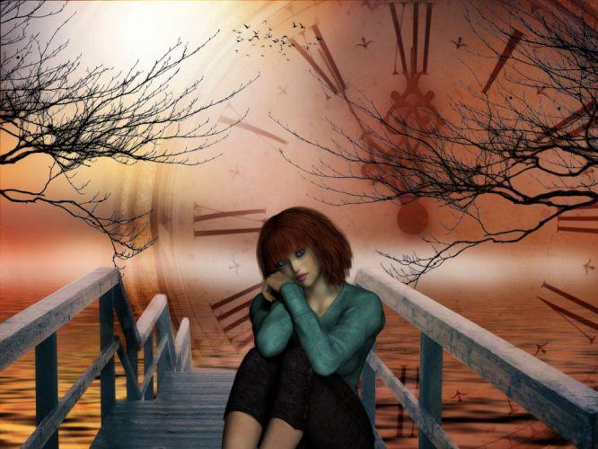 Time Fantasy Landscape Girl Sea Waves Colors Sun wallpaper