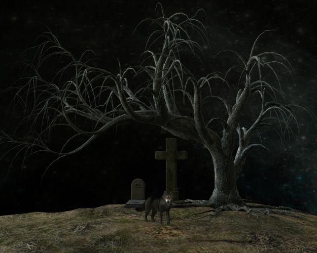 Cemetery Night Atmosphere Weird Moon Grave Stones wallpaper