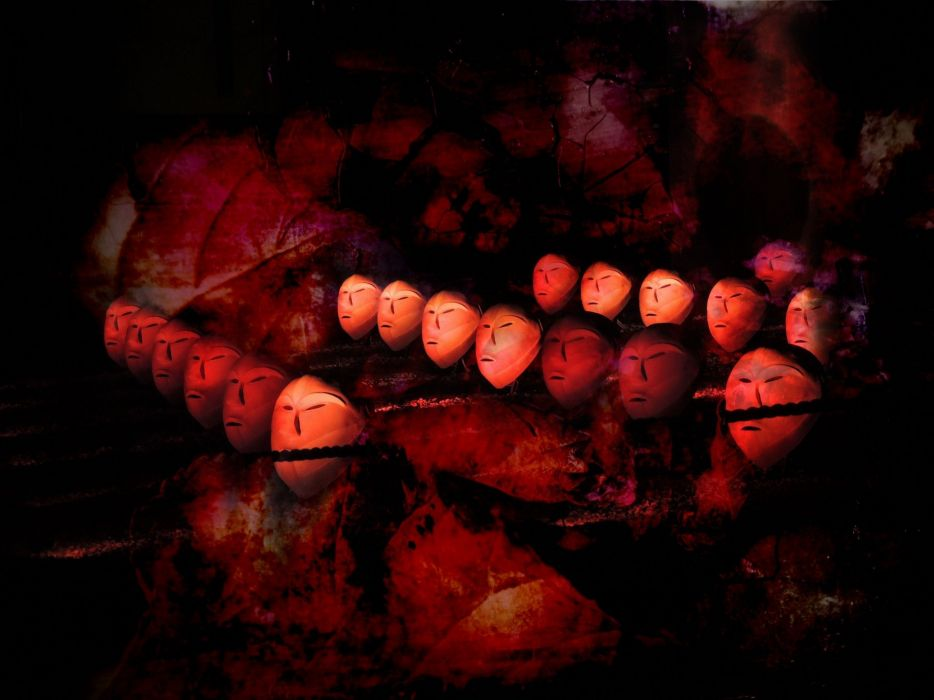 Faces Red Fantasy Surreal Black wallpaper