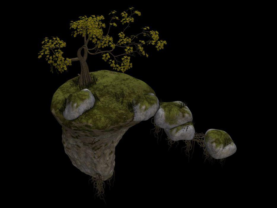 Island Flying Island Tree Stones Rock Fantasy wallpaper