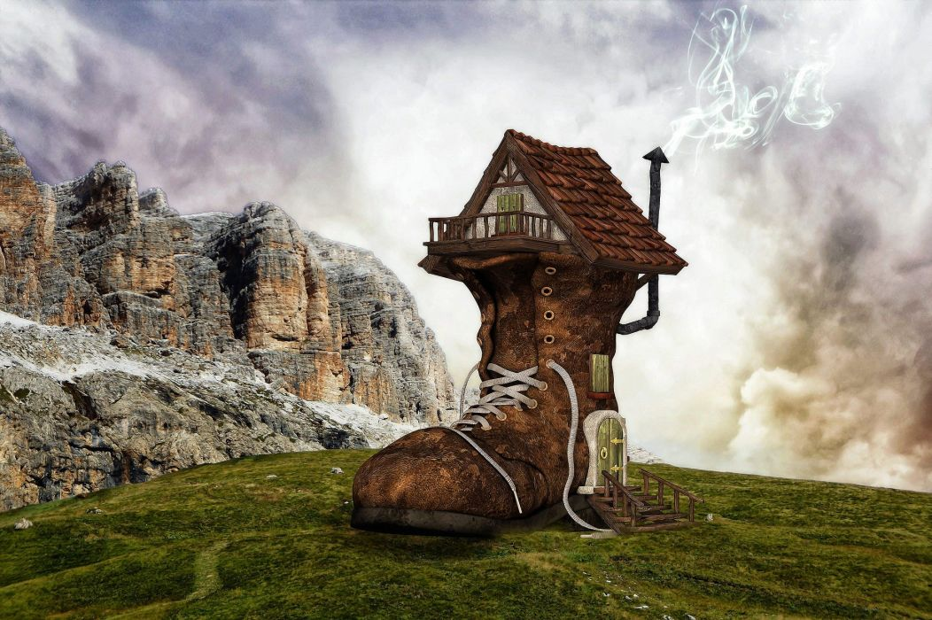 Shoe Boots Home Boots House House Fantasy wallpaper