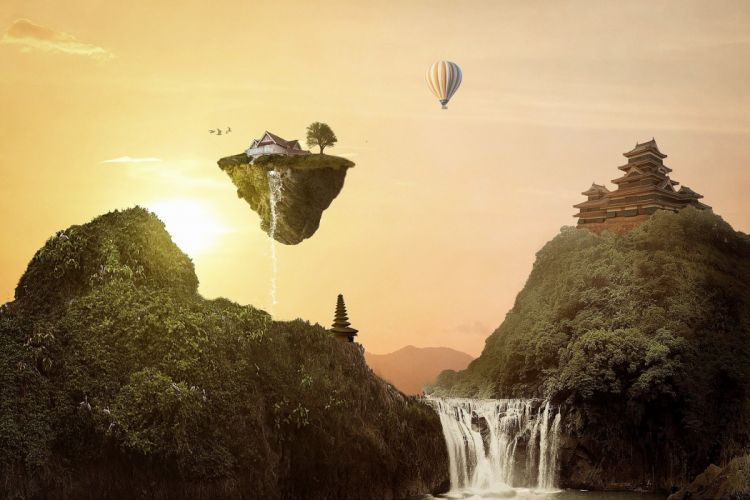 Temple Sunset Home Landscape Fantasy Waterfall wallpaper