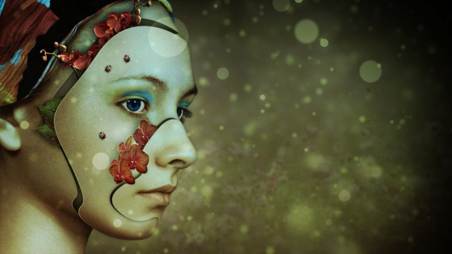 Woman Nature Of Course Young Face Pretty robot cyborg wallpaper