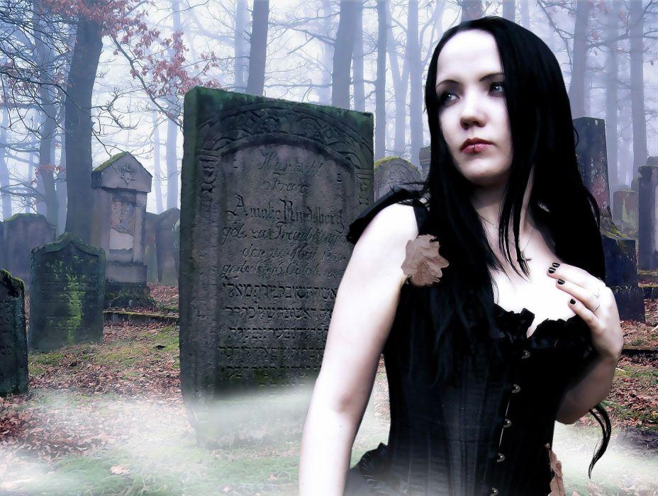 Gothic Fantasy Female Gothic Model Cemetery wallpaper