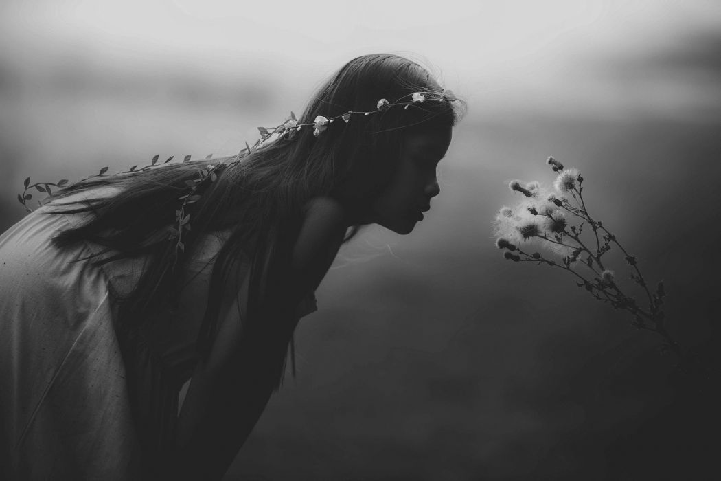 Young Girl Mystical Black And White Stunning Mystic wallpaper