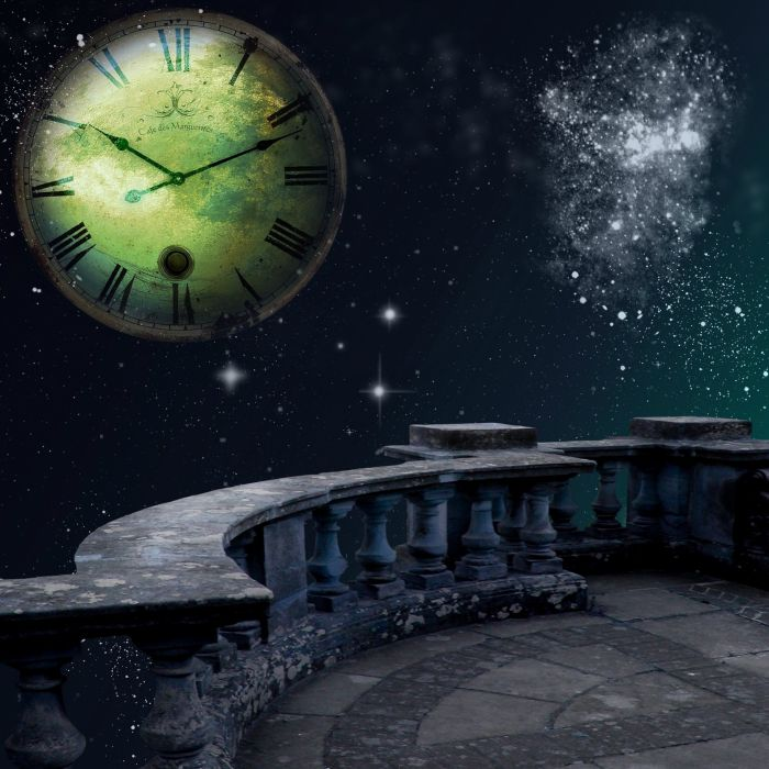 Time Space Balcony Background Fantasy Stars Moon wallpaper