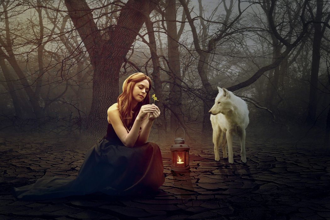 Wolf Woman Fantasy Forest Fairytale wallpaper
