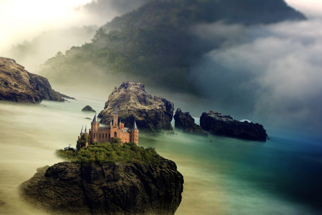 Castle Sea Ocean Mountain Rock Clouds Fantasy wallpaper