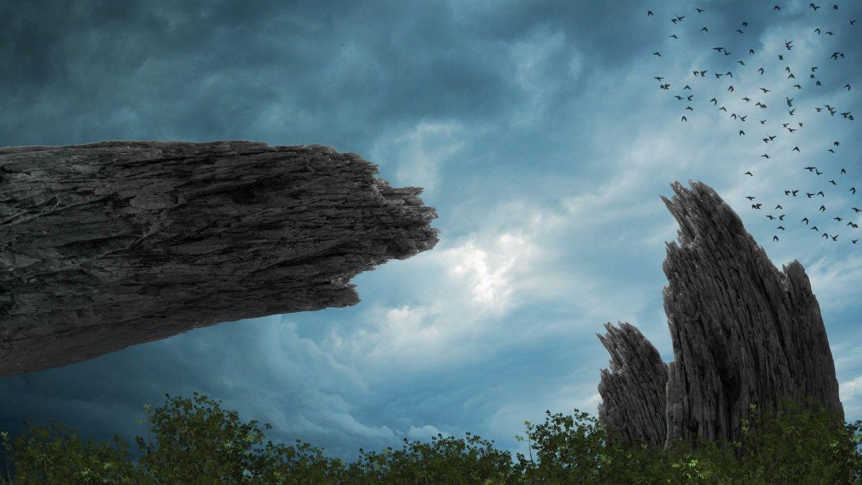 Fantasy Background Landscape Rocks Trees wallpaper
