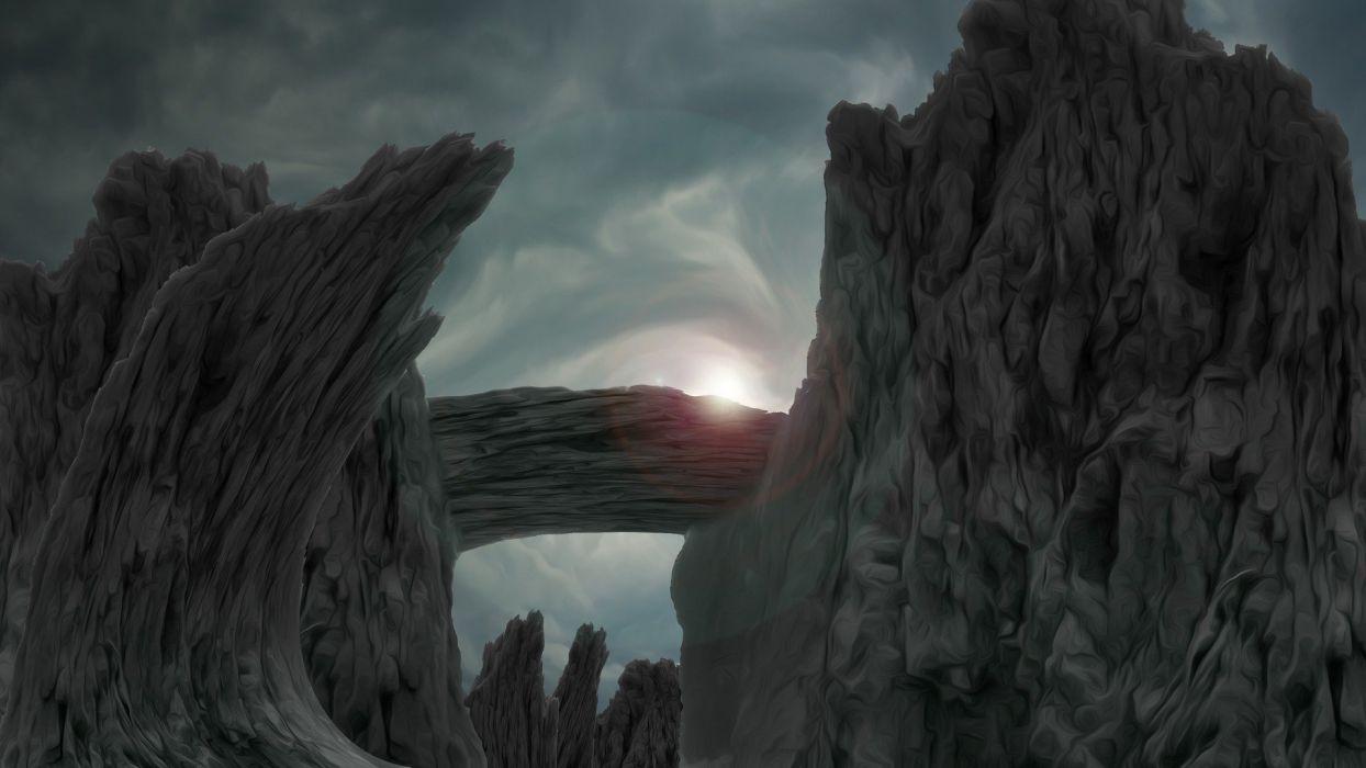 Fantasy Backdrop Landscape Rocks Inhospitable wallpaper