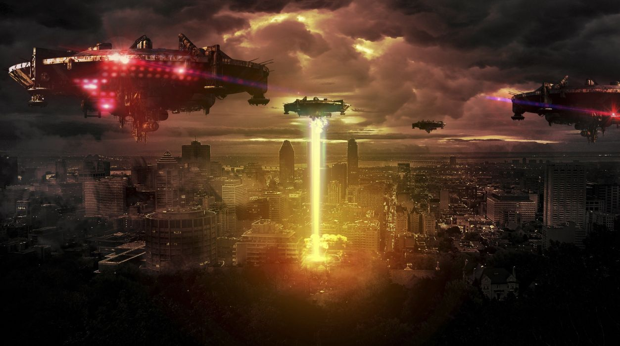 spaceship photo manipulation alien foreign inhuman night wallpaper
