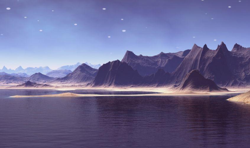 Fantasy World Voyager Virtual Landscape Model wallpaper