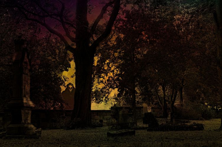 Halloween Cemetery Weird Creepy Horror Graves wallpaper