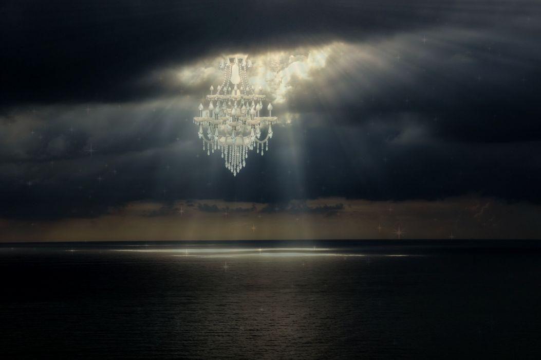 Chandelier Light Light Beam Sea Surreal Fantasy wallpaper