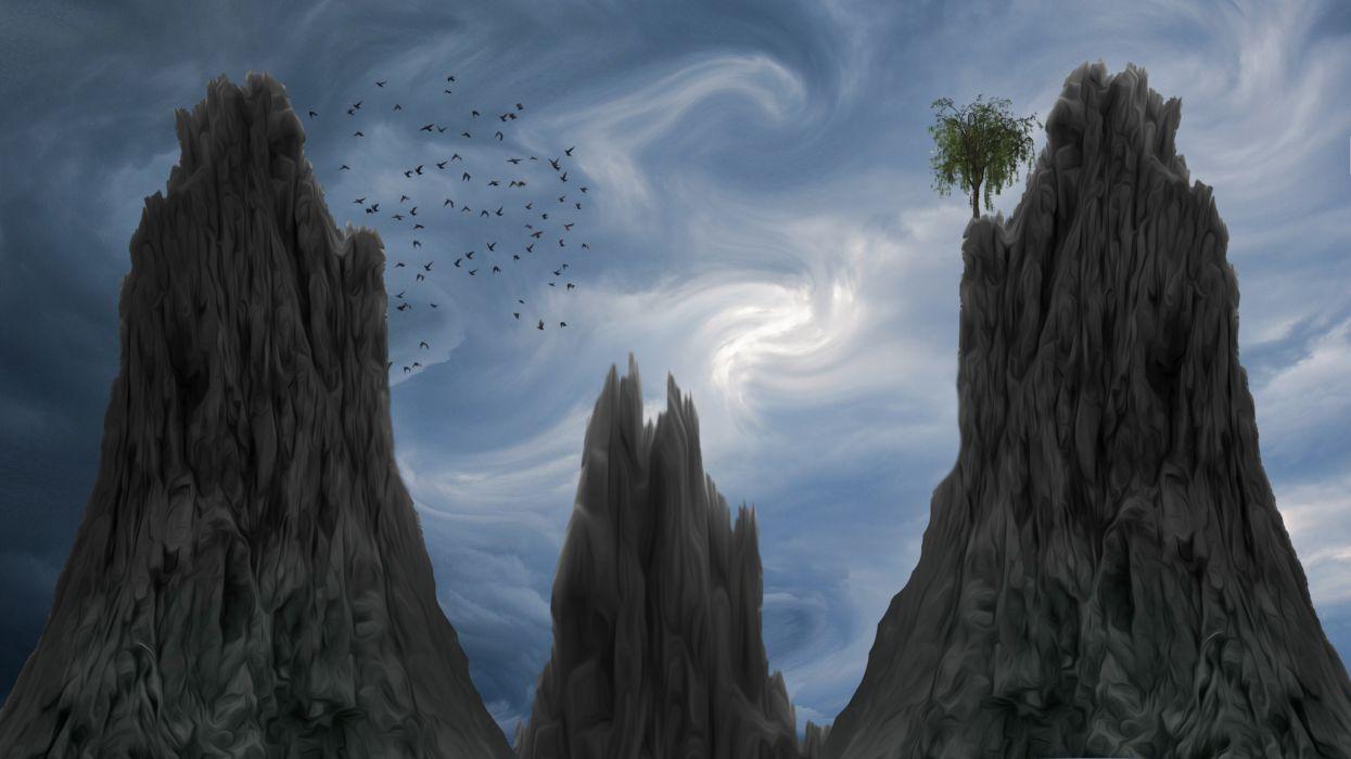 Fantasy Landscape Background Backdrop Birds wallpaper