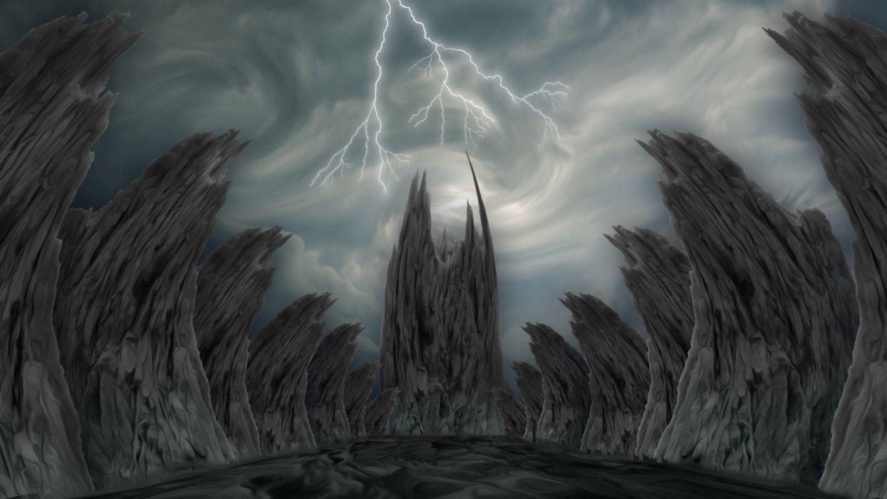 Fantasy Landscape Background Backdrop Lightning wallpaper