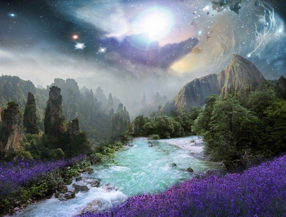Fantasy Landscape River Digital Composite Purple wallpaper