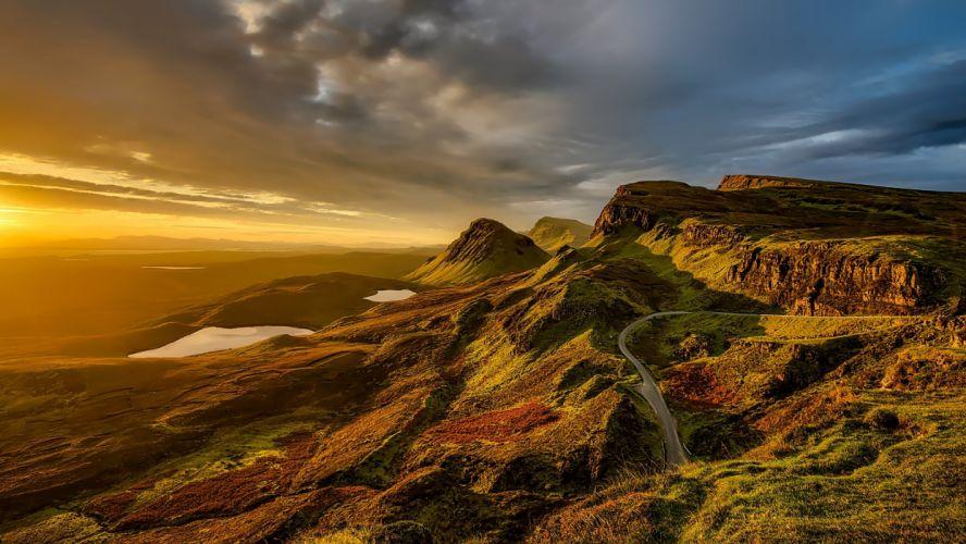 Scotland Landscape Scenic Mountains Hills Sunset wallpaper