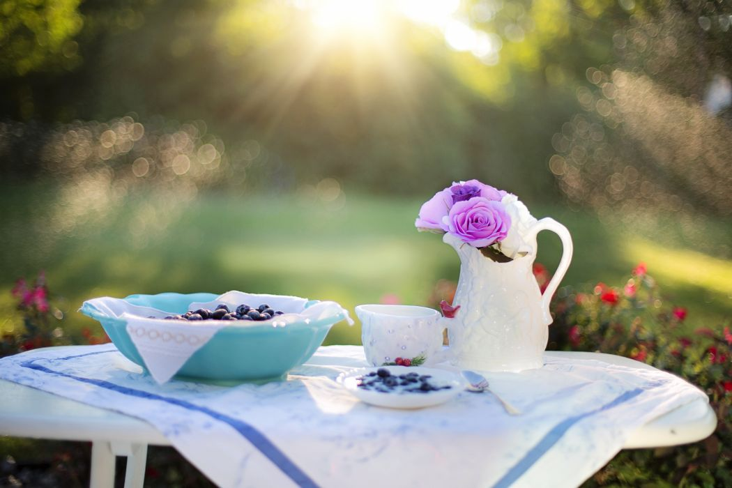 Blueberries Cream Dessert Breakfast Blueberry Food wallpaper