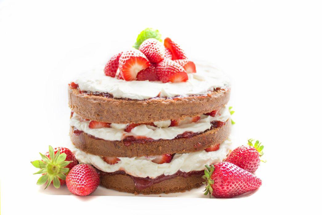 Cake Bake Chocolate Strawberry Cream Sweet wallpaper